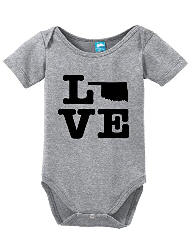 Oklahoma Sooners Child Uniform (Oklahoma Love Printed Infant Bodysuit Baby Romper Gray 3-6 Month)