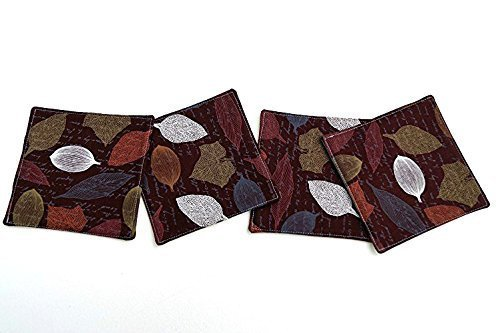 Fall Leaves Quilted Coasters in Orange and Brown Fabric by My Bit Of Wonder (Image #1)