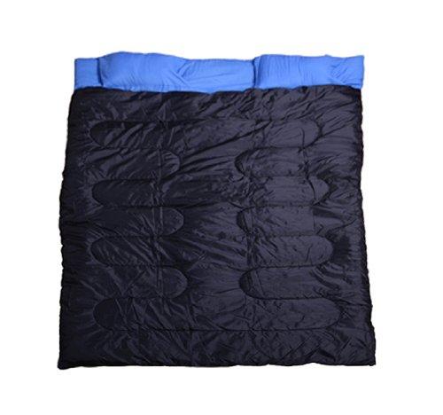 HOMCOM Camp Camping Travel Double Sleeping Bag Sleep Cozy Thick Warm Waterproof Black & Blue New