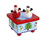 Handcrafted Wooden Christmas Music Box Santa and Snowman Spin to Twelve Days of Christmas