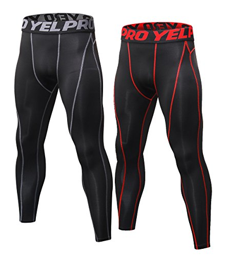 KEFITEVD Men's Boys Pro Performance Compression Base Layer Thermal Tights/Leggings 2 Pack
