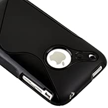 GNWE Black Rubber TPU GEL Hard Case Skin Cover for Apple Iphone 3g 3gs 8gb 16gb