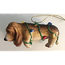 Big Sky Carvers Ornament, Hound Dog Wrapped In Lights