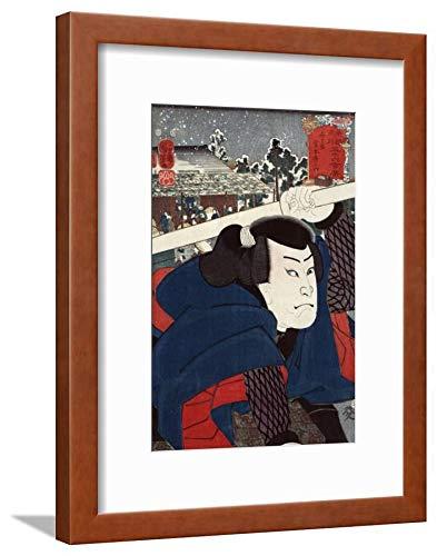 ArtEdge Actor Miyamoto Musashi, Japanese Wood-Cut Wall Art Framed Print, 16x12, Brown Soft White Mat