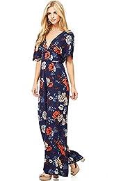 Womens Wide Leg Floral Print V Neck Jumper