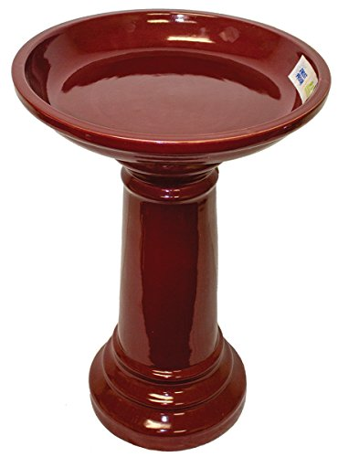 The Sun Pottery Company Gp0919es Merlot Ceramic Bird Bath