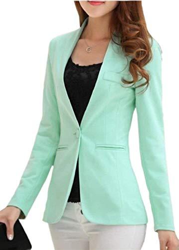 Marca Ovest Donna Moda Tailleur Mode Cappotto Colore Elegante Puro Autunno Tasche Giubotto Manica Bavero Anteriori Lunga 1 Button Di mnNwv08