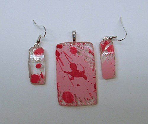 - UpCycled Absolut Raspberri Vodka Bottle Pink Novelty Pendant and Earring Set