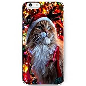 Hot 1164853M42660849 5.5 Phone Cases for Iphone 6 Plus- Ideal X-mas Gift - Cat with Reindeer Hat