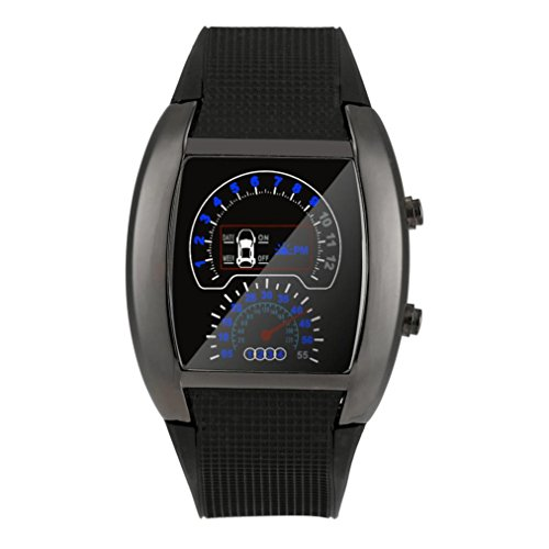 Digital LED Approx 80g Watches,Woaills Fashion Aviation Turbo Dial Flash Watch Gift Mens Lady Sports Car Meter (black)