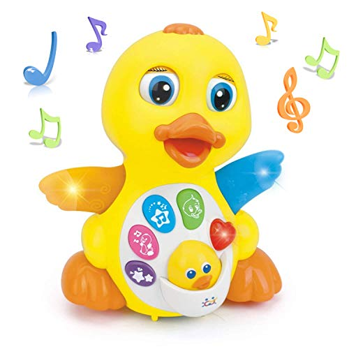 - Woby Musical Flapping Yellow Duck Action Educational Learning and Walking Toy for 1 Year Old Baby Toddler Girl Boy