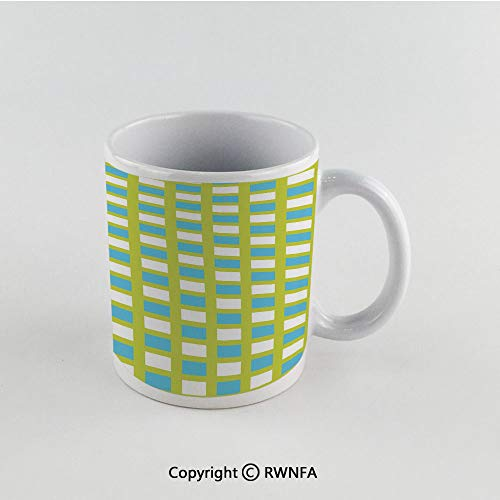 11oz Unique Present Mother Day Personalized Gifts Coffee Mug Tea Cup White Geometric,Abstract Square Pattern in Fresh Tones Geometric Elements Ornament Decorative,Yellow Green Blue White Funny Cerami