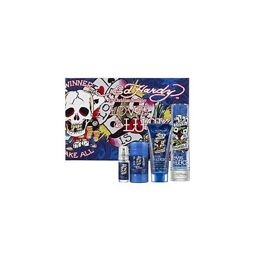 Ed Hardy Love & Luck Cologne Gift Set for Men 3.4 oz Eau De Toilette Spray by Ed Hardy (Love And Luck Ed Hardy Gift Set)