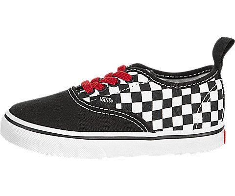 Vans Toddler T Authentic Elastic LACE Checkerboard Black RED White Size 9 -