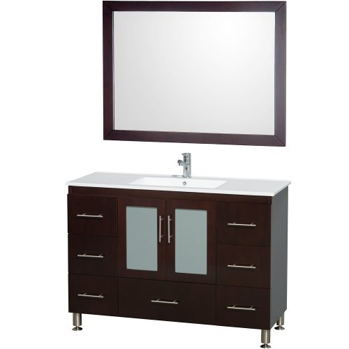 Wyndham Collection Katy 48 inch Single Bathroom Vanity in Espresso with White Porcelain Countertop with White Porcelain Sink and 46 inch Mirror