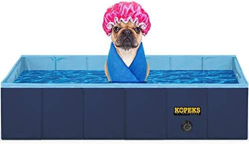 KOPEKS Outdoor Rectangular Swimming Pool Bathing Tub – Portable Foldable – Small – 31 x 20 – Blue