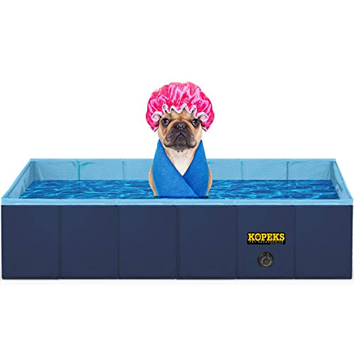 "KOPEKS Outdoor Rectangular Swimming Pool Bathing Tub - Portable Foldable - Large - 43"" x 27"" - Blue"