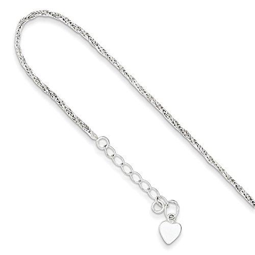 2mm Sterling Silver Diamond Cut Twisted Wheat Chain Bracelet, 5-6 - Sterling Heart Twisted Bracelet