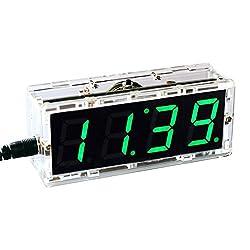 KKmoon Compact 4-digit Digital LED Talking Clock DIY Kit Light Control Temperature Date Time Display Transparent Case (Green)