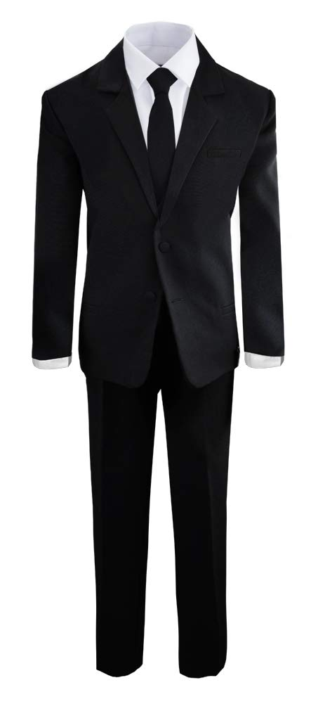 Boys Black Tuxedo Suit with Tie Young Boys Youth Size 16 by Black n Bianco (Image #4)