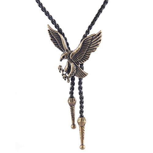 Jenia Native American Cowboy Bolo Tie Silver Western Vintage Eagle Leather Necktie Necklace for Women, Men, Boy - Modern Gold Plated Setting Pendants