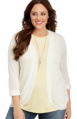 maurices Women's Plus Size Cardigan with Roll Tab Sleeves 2 Soft White Roll Sleeve Cardigan