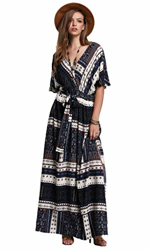 Milumia Women's Boho Split Tie-Waist Vintage Print Maxi Dress (Small, -