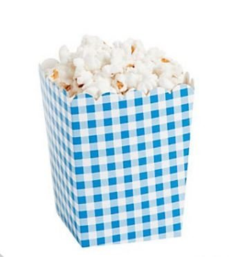 Box Blue Gingham - Ocean Supply Blue Gingham Checkered Plaid Striped Popcorn Boxes 24 pk