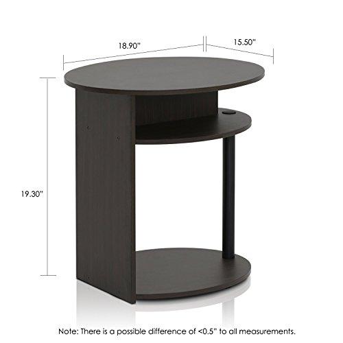 FURINNO 15080WNBK Jaya Simple Design Oval End Table, Walnut