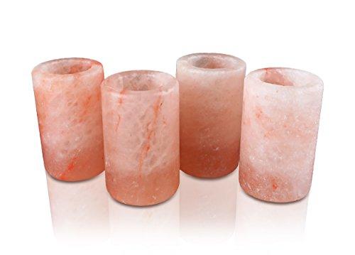Himalayan Secrets Set of 4 Himalayan Tequila Shot Glass Set - 100% Edible Hand Carved Himalayan Crystal Salt - 3 Tall