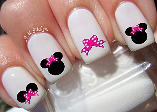Disney Minnie Mouse Pink Bow Water Nail Art Transfers Stickers Decals - Set of -
