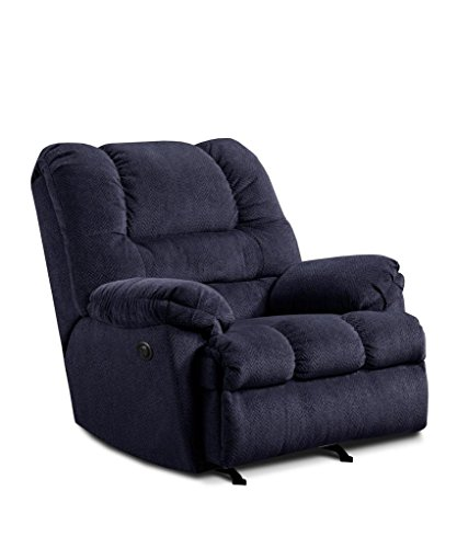 - Simmons Upholstery U600P-19 Zig Zag Blue Power Rocker Recliner