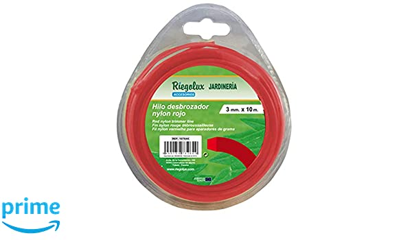 Riegolux 107673 Hilo Desbrozadora Nylon Cuadrada, Rojo, 3.3 mm x ...