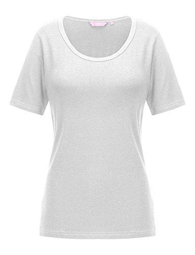 REGNA X Women's White Keyhole cotton round neck cool dri half sleeve Tunic Top,17504_white,Small