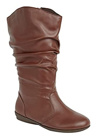 Melia Leather Scrunch Boot Medium Brown,8 1/2 W - Leather Scrunch Boot