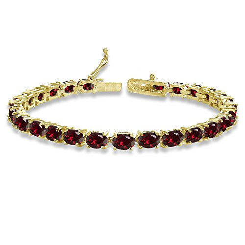 (Yellow Gold Flashed Sterling Silver 6X4mm Created Ruby Oval-cut Tennis Bracelet)