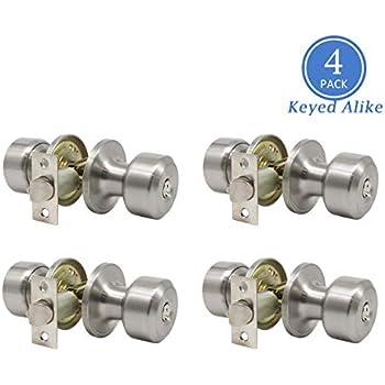 Satin Nickel Combo Entry Door Handles Keyed Alike