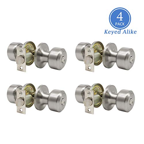 Satin Nickel Combo Entry Door Handles Keyed Alike, Entrance Door Knobs for Exterior Door Keyed Entry Door Knob Set, Easy to Install, Contractor Pack of 4, Sleek Cylindrical Style