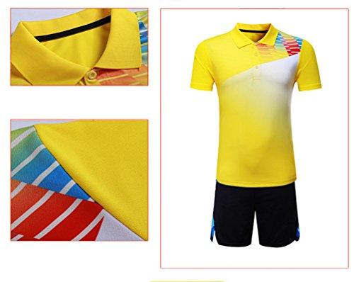 Sportswear Manches Été Printemps Courtes hommes Costume Kuncg Personnalisé Vêtements Rapide Séchage Jaune Hommes Et À Femmes Badminton qOwzSX1T