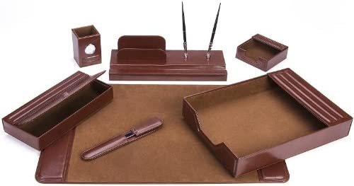 MAJESTIC Goods Seven-Piece Brown Mahogany Wood and Pu Desk Set