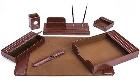 Majestic Goods Office Supply Leather DeskSet, Brown 7 Piece (105 DSG7)
