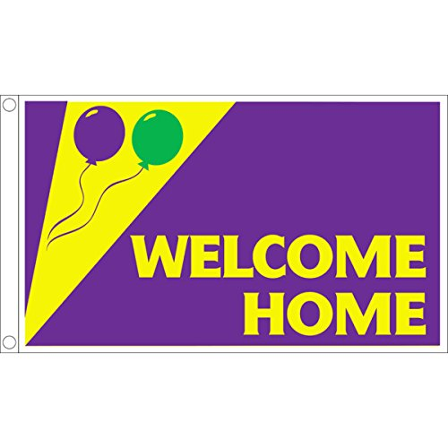 Horizontal Welcome Home Flag, Festive, 5' x 3'