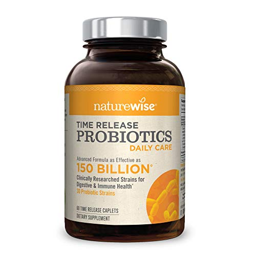 NatureWise Daily Probiotics for Women and Men | Time-Release, Comparable to 150 Billion CFU, Delivers 15x More Live Cultures to Intestines for Digestion & Immune Support | Shelf Stable, 60 Caplets
