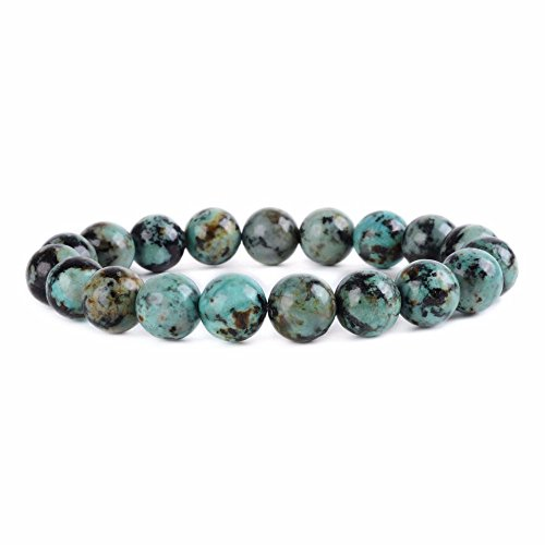 African Turquoise Gem (Natural A Grade African Turquoise Gemstone 10mm Round Beads Stretch Bracelet 6.5