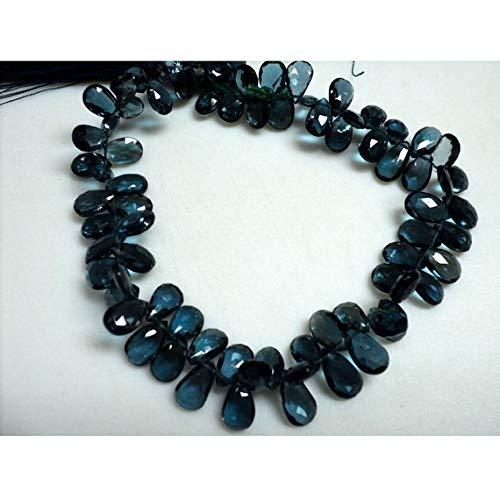 Blue Topaz Briolette Beads - Gems World Beautiful Jewelry London Blue Topaz Beads, Blue Topaz Briolette, Pear Beads, Faceted Briolette Beads, 6x9mm Each, 4 Inch Strand Code-COM-3447
