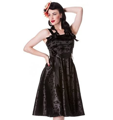 Hell Bunny 50s Satin Tattoo Flock Prom Dress Black - UK 6 ...