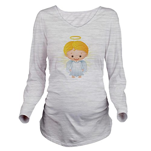 (Truly Teague Long Sleeve Maternity T-Shirt Christmas Cuties Shining Angel Of The Lord - Ash Grey, Large)
