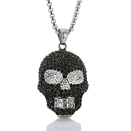 (Beydodo Skull Necklace Stainless Steel for Men Biker Necklace Pendant Iced Out Skull Head Pendant)
