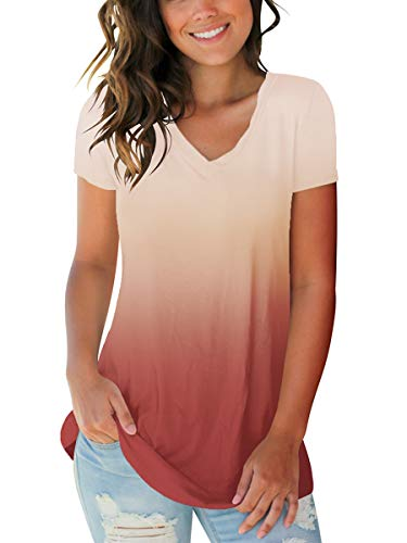 Juniors V Neck Short Sleeve Summer T Shirts Trendy Casual Tops Ombre Pink M