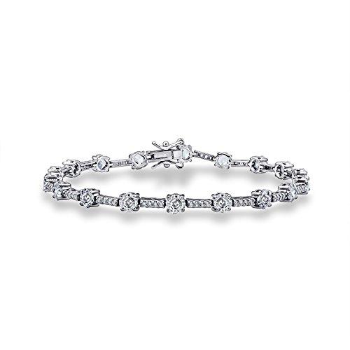 - DIAMONBLISS Platinum Plated Sterling Silver 7.4 ct Asscher Cut Cubic Zirconia Tennis Bracelet, 7-1/4''
